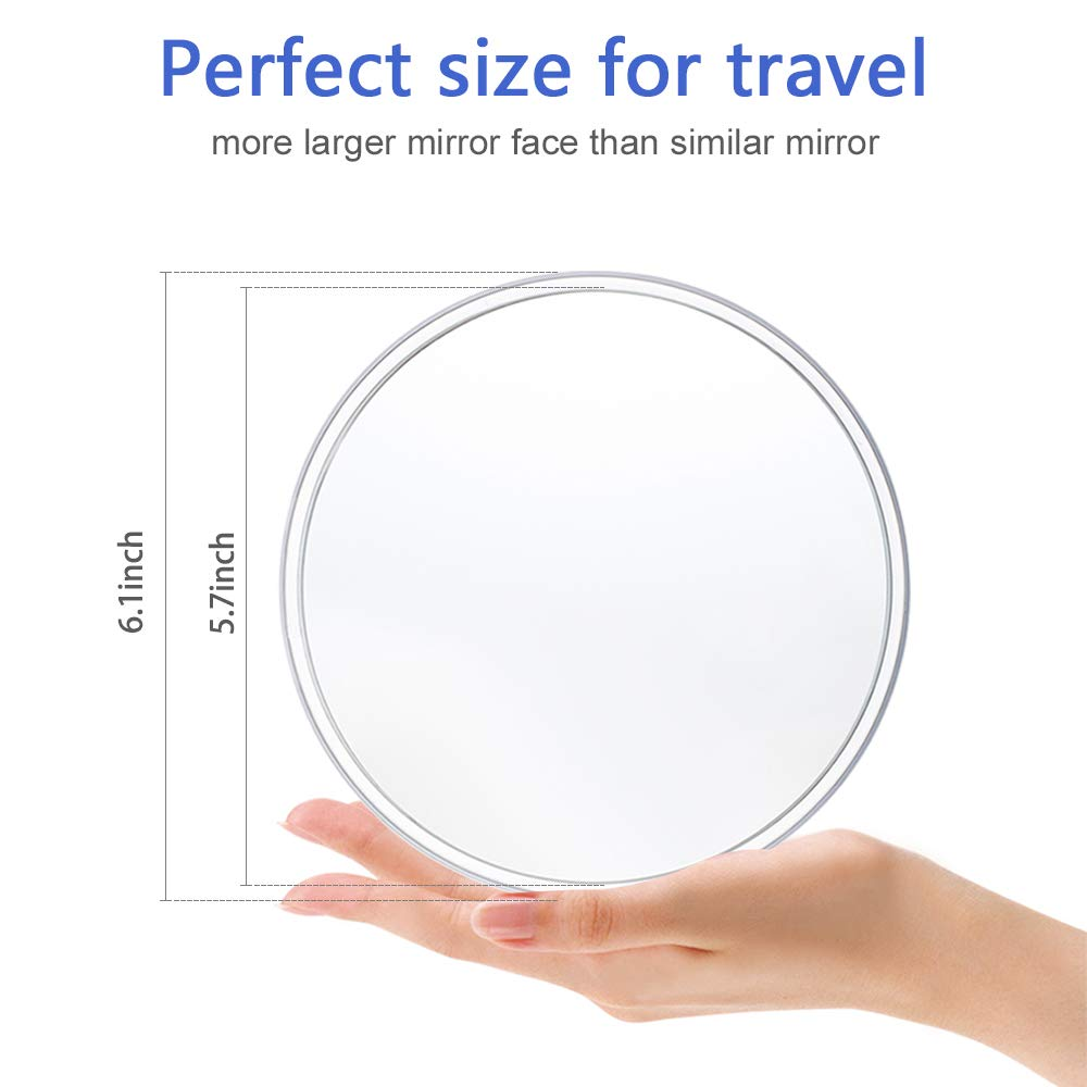 Gotofine 7x Magnifying Makeup Mirror with 2 Suction Cups and Hanging Hole, Round, Clear & Transparent for Wall Mounting