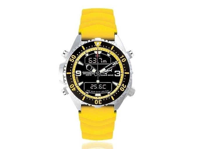 Chris Benz Depthmeter Digital CB-D200-YS-KBY Cronógrafo para hombres Ordenador de Buceo: Amazon.es: Relojes
