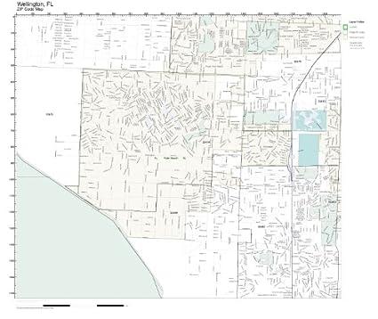 Map Of Wellington Florida.Amazon Com Zip Code Wall Map Of Wellington Fl Zip Code Map