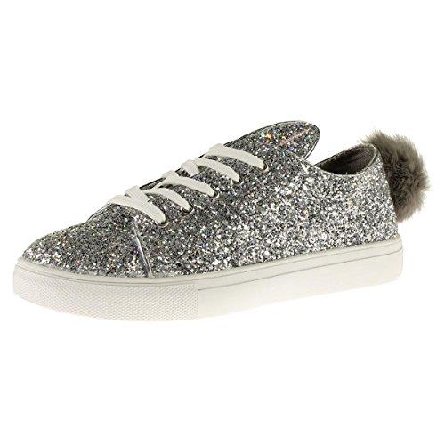 Steve Madden Femmes Boca Glitter Casual Mode Sneakers Argent Paillettes
