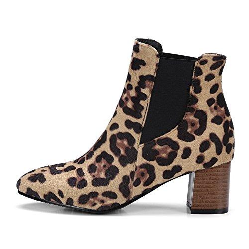 Balamasa Mujeres Tobillo-alto Costura De Contraste Sin Cierre Botas De Gamuza Abl10561 Leopard