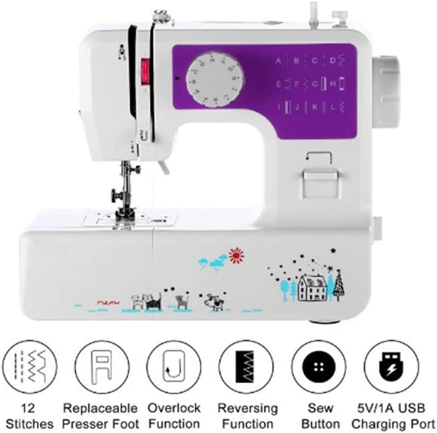 HEIFEN La máquina de Coser pequeña es Adecuada para portátil Pedales/eléctrico de iniciación, Conveniente para Dril de algodón, Seda, Lana, Cuero, etc.