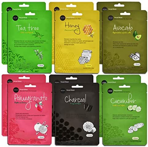 Celavi Essence Facial Face Mask Paper Sheet Korea Skin Care Moisturizing 12 Pack (Mix - 2 of Each) …