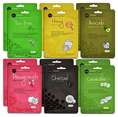 Celavi Essence Facial Face Mask Paper Sheet Korea Skin Care Moisturizing 12 Pack (Mix - 2 of Each) ...