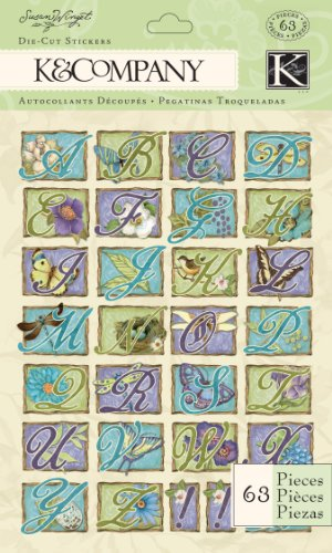 (K&Company Susan Winget Die-cut Stickers, Botanical Alphabet)