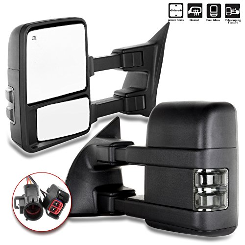 Scitoo Towing Mirrors For Ford High Performance Automotive Exterior Mirrors for 1999-2002 F250 F350 F450 F550 Super Duty with Power Adjusted Heated Manual Telescoping Features