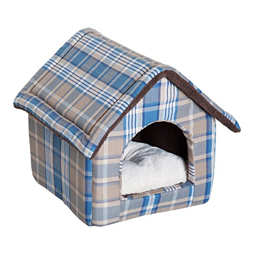 PawHut Portable Indoor Soft Fabric Cat Dog House with Removable Cushion (Small, Blue Grey Plaid)