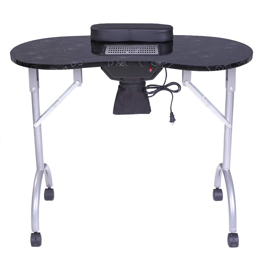 NewMultis Portable MDF Manicure Table Spa Beauty Salon Equipment Desk with Dust Collector & Cushion & Fan Black by NewMultis