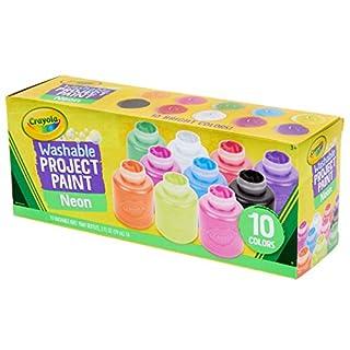 Crayola Washable Kids Paint Set, 2oz Bottles, 10 Count, Assorted Neon