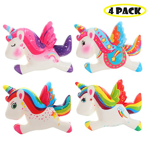 VIGEIYA 4 Pack Squishies Unicorns Slow Rising Jumbo Rainbow Unicorns Prime Cheap Kawaii Colorful Toys by VIGEIYA
