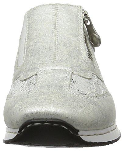 Rieker Damen 56061 Slipper Silber   (Ice/weiss-silber / 81)