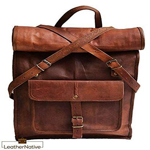 NEW Mens Genuine Leather Vintage Backpack Rucksack Messenger Laptop Bag Satchel