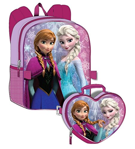 Disney Frozen Girl's Backpack with Detachable Lunchbox Set (Exclusive Design) -