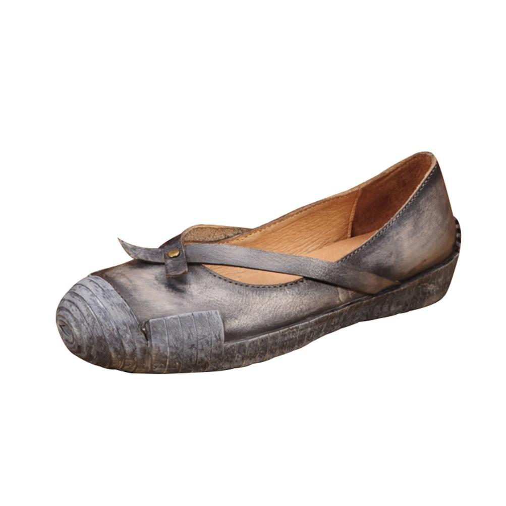 QPYC Damen Shallow Mouth Echtes Leder Schuhe Freizeit Flache Mit Retro Einzelnen Schuhe Rindsleder Quadratischen Kopf Flache Stiefel , Blau , 36