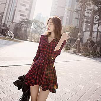 vestido vermelho xadrez curto com cinto casual manga comprida importado