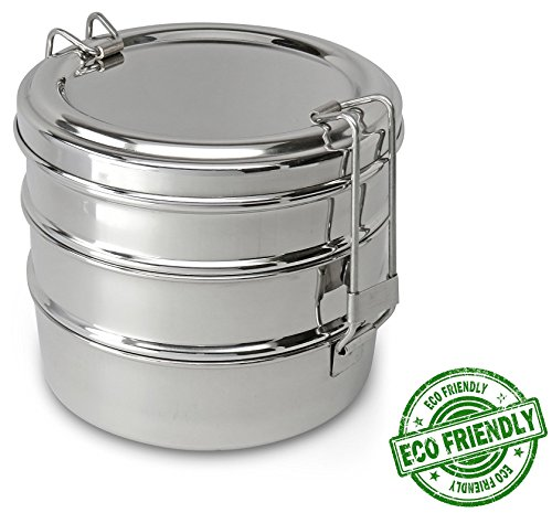 Round Bento Box (Lifestyle Block Stainless Steel Tripple Stacking 3 Tier Tiffin Lunch Box)