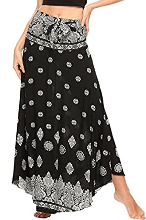 Meaneor Women's Long Bohemian Floral Print Hippie Skirt Summer ...
