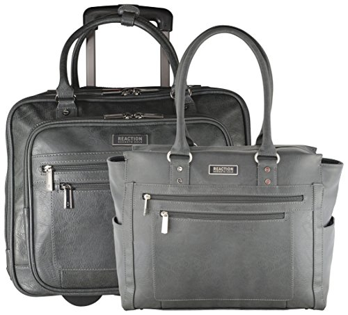 - Kenneth Cole Reaction 2-Piece Carry On Set: Computer Tote and Wheeled Overnight Under Seat Bag (Charcoal)