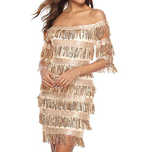 Fringe Mini Lamp - Sherostore ♡ Women's Off Shoulder Slash Neck Fringe Sequin Party Mini Dress Fringe Dance Party Dress Club Wear Dress Gold