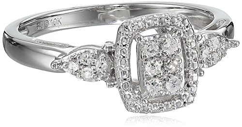 10k White Gold 1/10cttw White Diamond Ring, Size 7 by Amazon Collection