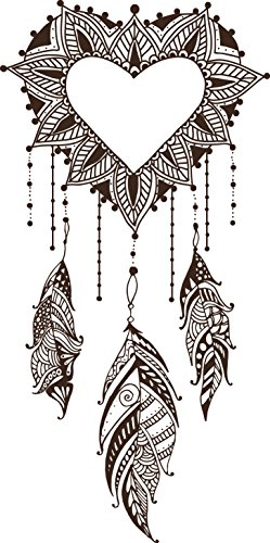 Divine Designs Henna Heart Dream Catcher Vinyl Decal Sticker (4