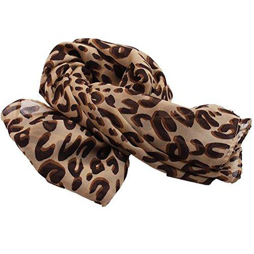 Leopard Wrap Dress (Womens Long Soft Silk Shawl Wraps Chiffon Scarves Print 3 Style - Grids, Heart, Leopard (Light)