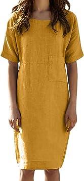 NEW WOMENS LOOSE LINEN CASUAL SUMMER BOHO MIDI KNEE LENGTH SHORT SLEEVE DRESS