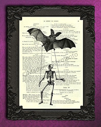 Halloween skeleton bat artwork, spooky decorations wall art, puppet on a string decor (Halloween Bat Art)