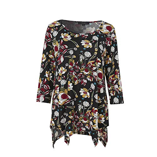(Tunic Tops for Women 3/4 Sleeve Floral Print Tunic Tops (XXX-Large, 022 Black Floral))