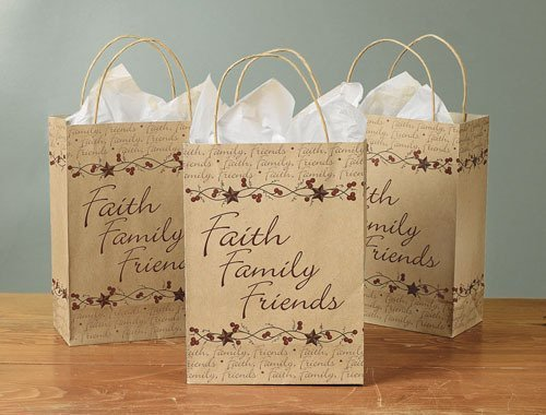 Faith, Family and Friends Gift Bag with Handle - Pack of 12/Brown Bag/Gift Wrap/Birthday/Holidays