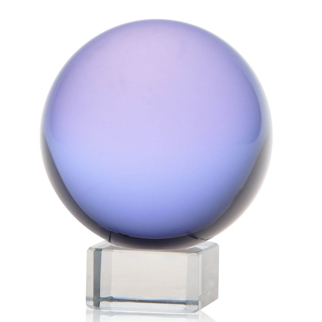 H&D 50mm Magic Crystal Meditation Ball Globe for Decoration Free Stand (crystal purple)