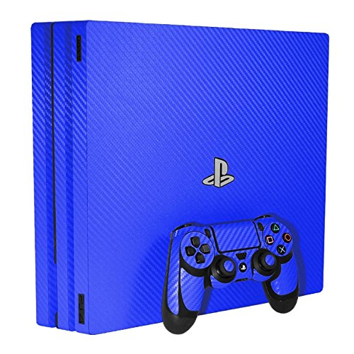 Sony PlayStation 4 Pro Skin (PS4-Pro) - NEW - 3D CARBON FIBER CANDY BLUE - Air Release vinyl decal console mod kit by System Skins