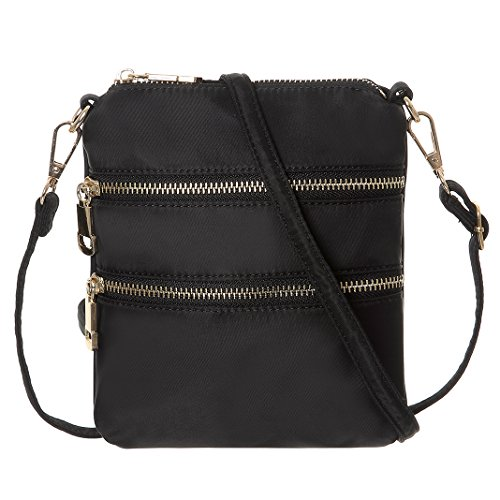 Women Nylon Lightweight Cell Phone Purse Wallet Small Crossbody Bags(Black) ()