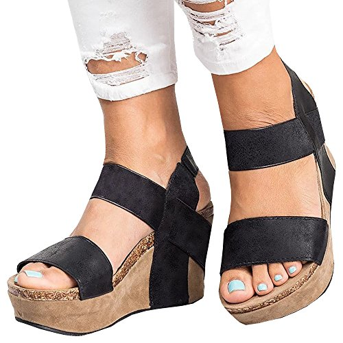 Syktkmx Womens Strappy Cork Platform Wedges Open Toe Slingback Heeled Slip on Sandals