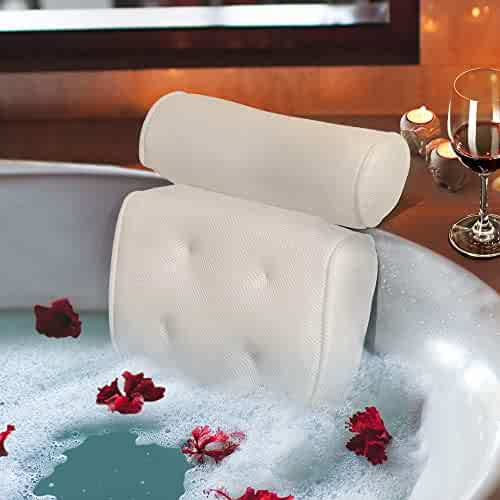 Bath Pillow Luxury Spa Bathtub Cushion 3D-Mesh Head,Neck,and Shoulder Support with 4 Non-Slip Strong Suction Cups White
