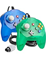 [New Version] 2 Pack for N64 Controller, iNNEXT Game pad Joystick for 64 - Plug & Play (Non PC USB Version) (Joystick from Japan) Transparent Green/Transparent Blue