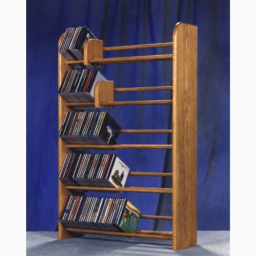 Solid oak dowel CD rack 275 (honey oak) (37H x 24.25W x 7.25D)