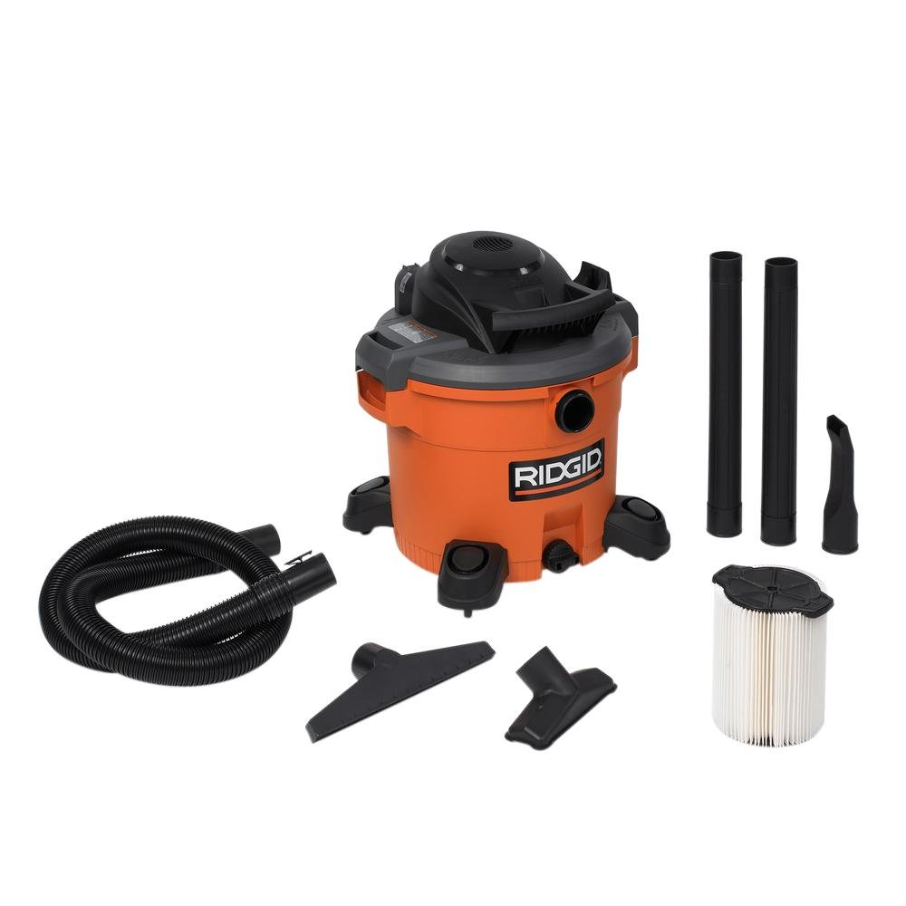RIDGID Large Capacity Powerful 12 Gal. 5.0-Peak HP Wet Dry Vac with Side Carry Handles 4 Swivel Casters Includes Extension Wands, Utility Nozzle, Car Nozzle, Wet Nozzle and VF4000 Filter