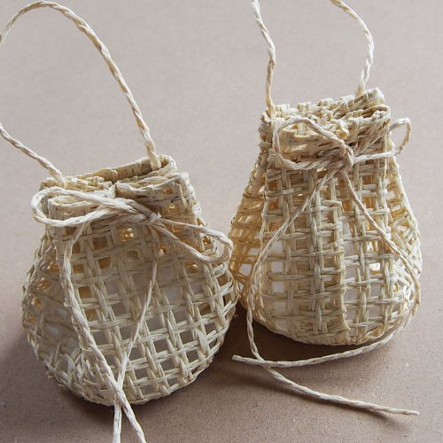 Mini Sacks Woven Straw Favor Gift Bags Pouches, 12-pack (Natural)