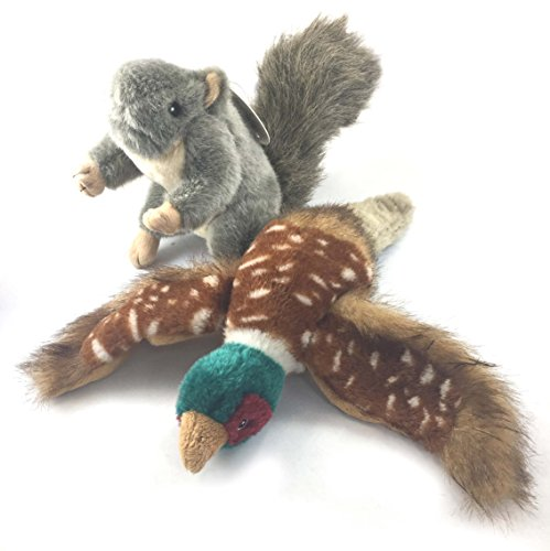 Sancho & Lola's Gray Squirrel w/Squeaker + Pheasant w/Quacker for Interactive Play. Both Plush and Medium in Size Supporting Rescue Dogs Since 2015