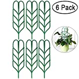 Garden Trellis for Mini Climbing Plants, Leaf Shape Potted Plant Support Vines Vegetables Vining Flowers Patio Climbing Trellises for Ivy Roses Cucumbers Clematis Pots Supports ( 6 Pack )