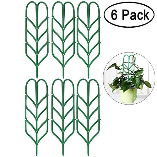 (Aniann Garden Trellis for Mini Climbing Plants, Leaf Shape Potted Plant Support Vines Vegetables Vining Flowers Patio Climbing Trellises for Ivy Roses Cucumbers Clematis Pots Supports (6 Pack))