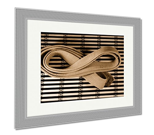 Striped Rank Belts (Ashley Framed Prints Martial Arts Orange Belt On Bamboo Mat, Wall Art Home Decoration, Sepia, 30x35 (frame size), Silver Frame, AG6573739)