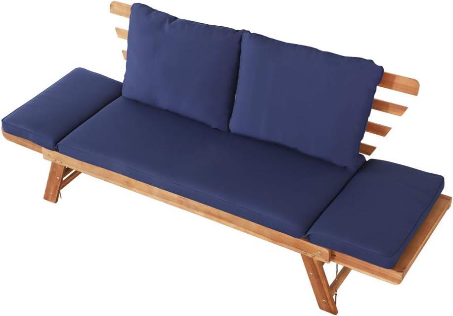 Aktive 61006 - Sofá cama de madera para jardín con cojines Garden: Amazon.es: Jardín