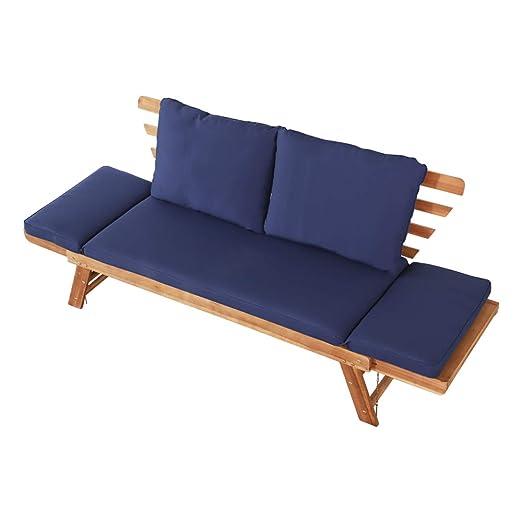 Aktive 61006 - Sofá cama de madera para jardín con cojines Garden