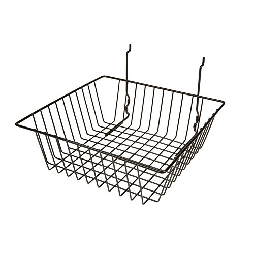 Only Garment Racks #5612BLACK (Pack of 6) Black Wire Baskets for Grid wall, Slat wall or Pegboard - Merchandiser Baskets, Black Wire Basket 12'' L x 12'' D x 4'' H (Set of 6) (Pack of 6) by Only Garment Racks