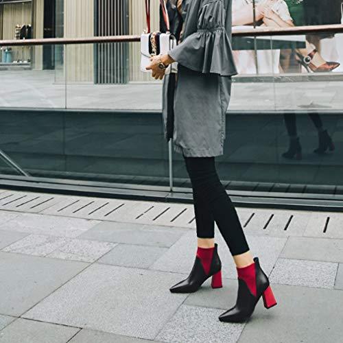 Donna Un Punta Alto A Yan Da Tacco Stivaletti Con Stivali Vintage Alti Nudi Inverno Autunno Martin Moda Cerniera 66TEq7Ux