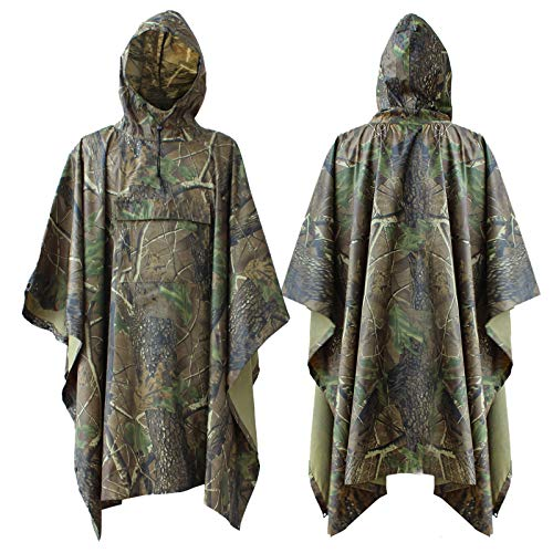 ElifeAcc Multifunctional Rain Cape Hooded Poncho – Waterproof Raincoat,Tent Ground Sheet Mat,Sunshade Tarp,Perfect for…