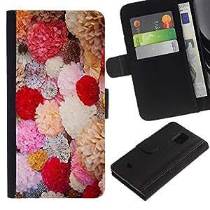 Be Good Phone Accessory // Caso del tirón Billetera de Cuero Titular de la tarjeta Carcasa Funda de Protección para Samsung Galaxy S5 Mini, SM-G800, NOT S5 REGULAR! // Spring Flowers