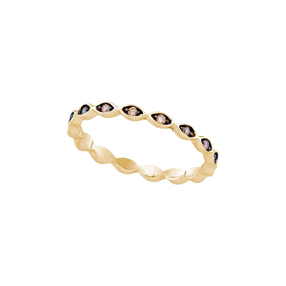 Size - 9 - Solid 10k Yellow Gold Round Chocolate Brown Diamond Prong Set Curved Eternity Wedding Band OR Fashion Ring (1/10 cttw)